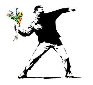 Banksy-sayitwithflowers