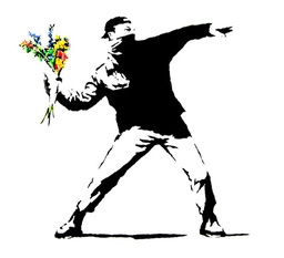 Banksysayitwithflowers